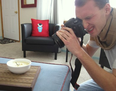A photo of Luke photographing soup