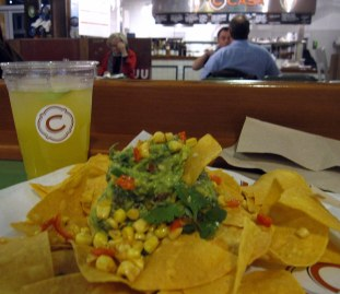 A photo of the chips and guac