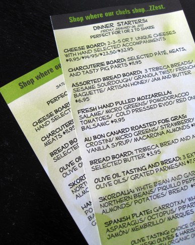 A photo of the menu