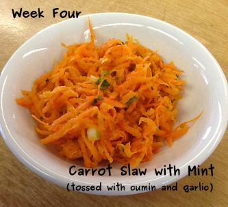 A photo of mint and carrot slaw