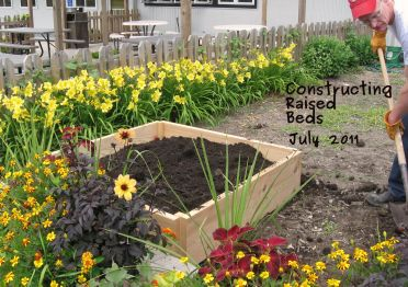 A photo of the raised bed construction