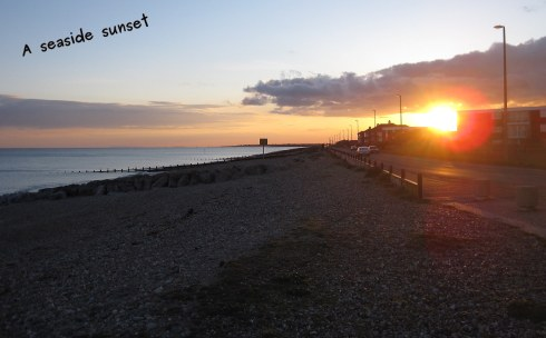 A photo of the sunset at the seaside