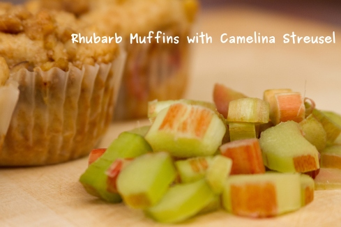 A photo of the Rhubarb Camelina Streusel Muffin