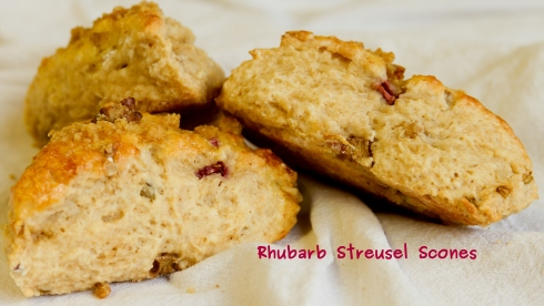 A photo of the Rhubarb Camelina Streusel Scone