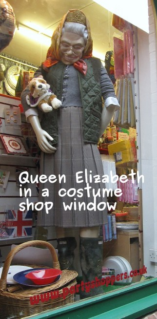A photo of the queen in a shop