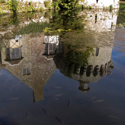 A photo of the castle's reflection
