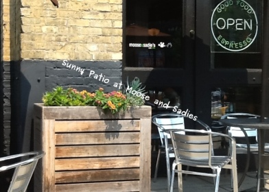 Photo of sunny patio at Moose and Sadies